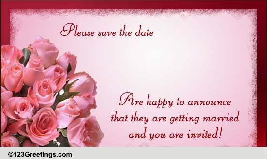 Wedding Ecards Invitation: Wedding Announcement With Invitation! Free Announcement