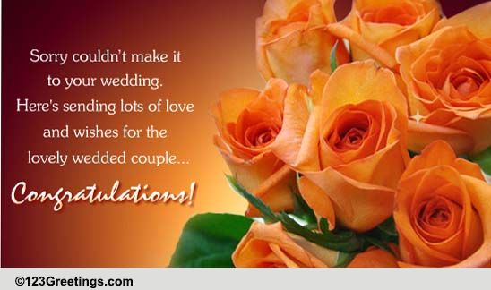 Wedding Gift Not Attending: Sorry Couldn't Make It! Free Belated Wishes ECards
