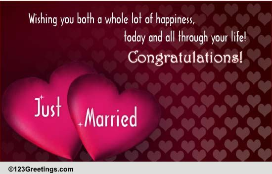 Wishing You Both Free Just Married Ecards Greeting