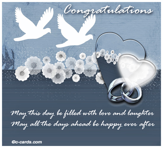 Love and laughter free congratulations ecards greeting cards 123 send your good wishes to the newly wed couple m4hsunfo
