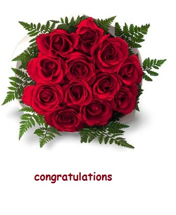 Congratulations With A Bunch Of Roses.