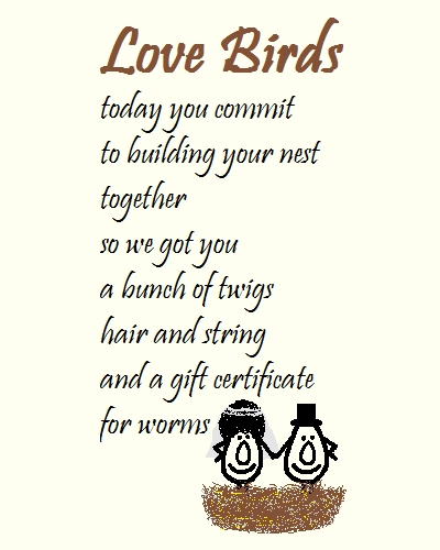 love birds a wedding congrats poem