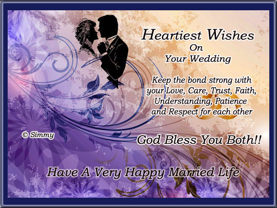 Heartiest wishes on your wedding free wedding etc ecards 123 send this sweet ecard with warm wishes for the newly wedded couple for a very happy married life m4hsunfo