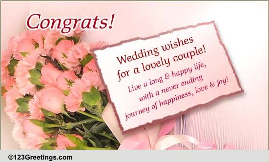 Late Wedding Gift Card Message : Wishes For A Lovely Couple! Free Wishes eCards, Greeting Cards 123 ...