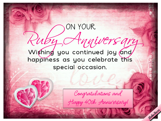 40th Wedding Anniversary Gifts For Friends: Ruby Anniversary Wishes. Free Milestones ECards, Greeting