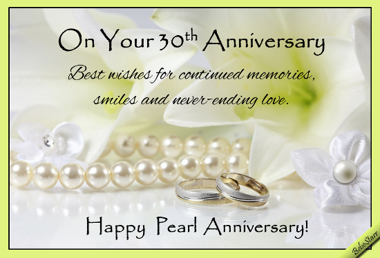 Pearl Gift Ideas For 30th Wedding Anniversary: Pearl Anniversary Wishes. Free Milestones ECards, Greeting