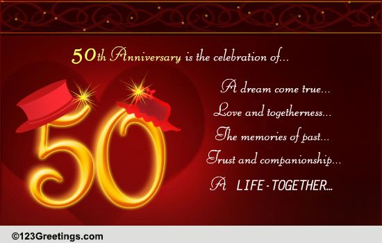 Congratulations On Golden Anniversary Free Milestones Ecards 123 Greetings