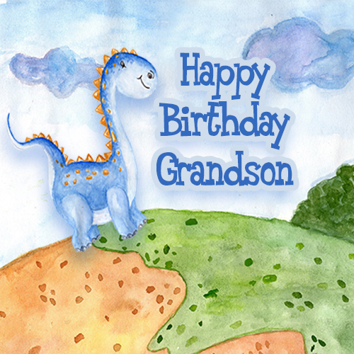 Cute Dino Says Happy Birthday Grandson
