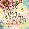 Happy Birthday With Watercolor Flowers.