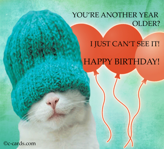 Birthday Quotes Another Year Older: Can'T See. Free Funny Birthday Wishes ECards, Greeting