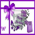 Happy Birthday With Purple Gift Bag.