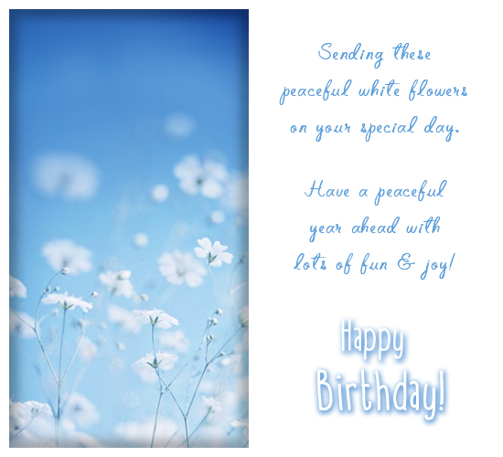 Send Your Ecard Happy Birthday White Peaceful Amp