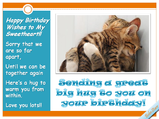 Long Distance Birthday Hug Free For Husband Wife Ecards 123