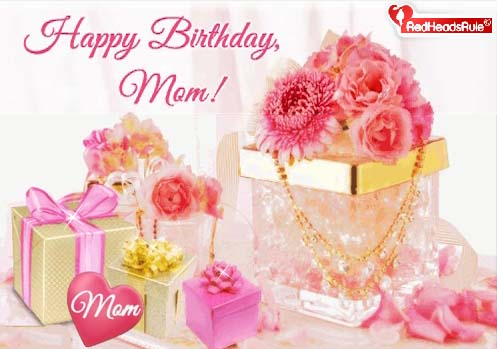 Happy Birthday Mom In Pink And Gold