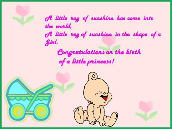 Congrats On The Birth Of A Daughter Free New Baby Ecards