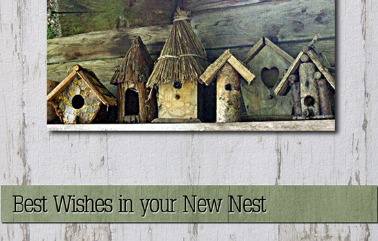 New Home Wishes With Birdhouses.