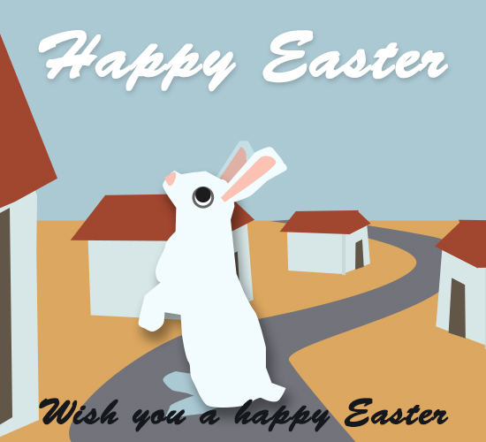 Happy Easter, Rabbit At Your Home.