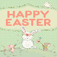 Happy Easter With Bunny And Mice.