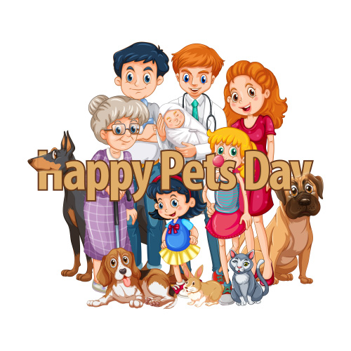 Happy Pet Day - Pets With Family.