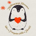 Romantic Penguin With Heart And Stars.