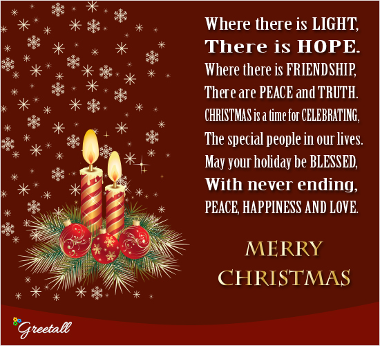 May The Light Of Christmas... Free Merry Christmas Wishes eCards | 123  Greetings