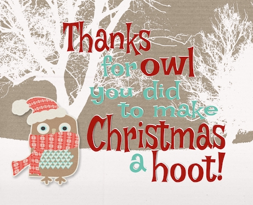 Thanks For Making Christmas A Hoot! Free Thank You eCards ...