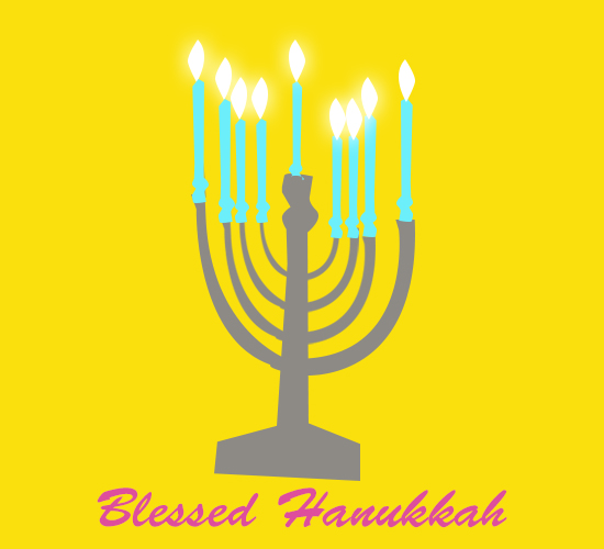 Blessed Hanukkah Yellow.