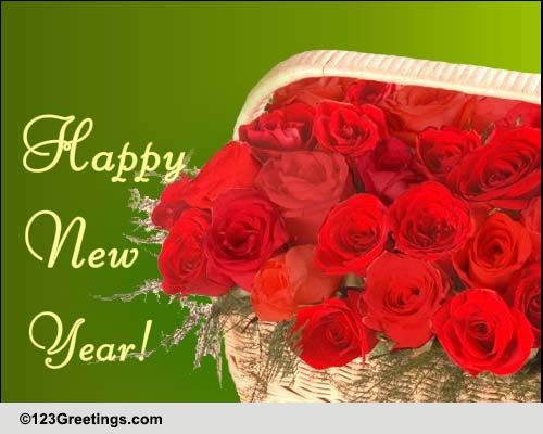 New Year Flowers Cards Free New Year Flowers Wishes