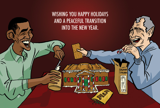 Happy Holidays From Barack And George.