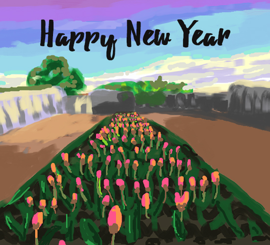 Happy New Year Flower Painting.