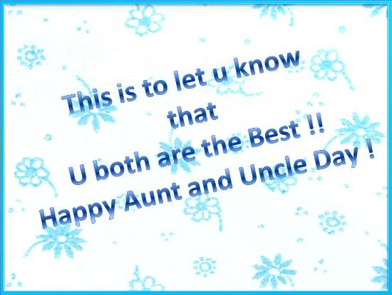 Greetings On  Aunt & Uncle's Day.