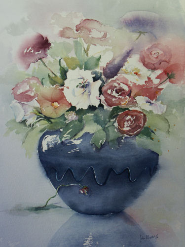Flowers In Blue Vase.