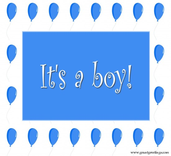 It's A Boy. Blue Balloons.