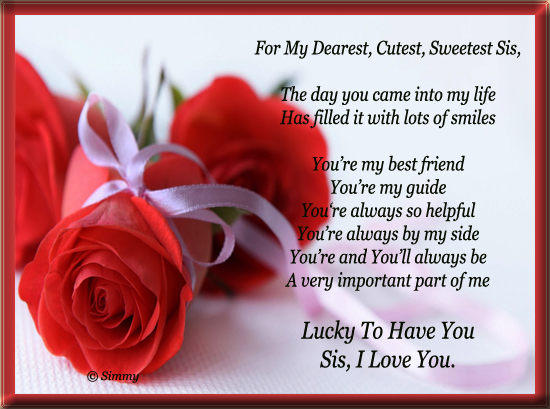 For My Dearest Cutest Sweetest Sis! Free Sister eCards ...