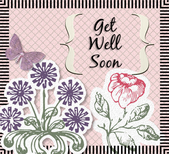 Get Well Soon, Flowers And Butterfly.