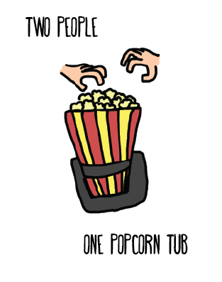 Two People, One Popcorn Tub.