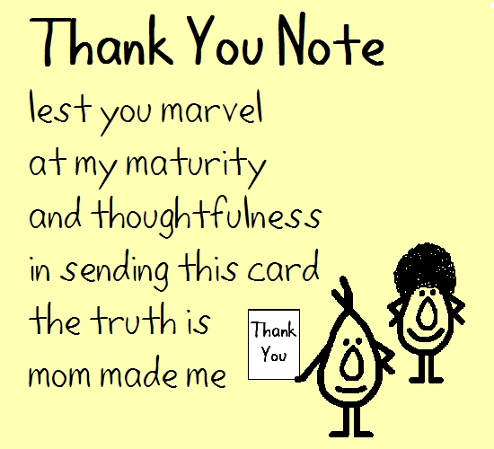 Thank You Note - A Funny Poem.