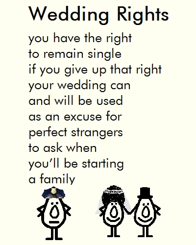 Wedding Rights, A Funny Congrats Poem. Free